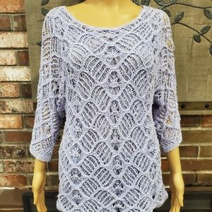 CHICO'S Periwinkle Knit Lined 3/4 Sleeve Sweater 0